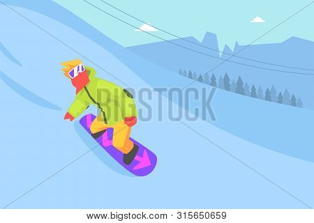 Man Riding Snowboard, Extreme Winter Sport, Male Athlete Spending Active Winter Vacation Vector Illu