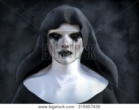 3d Rendering Of A Ghost Nun Or Demon With Smoke In The Dark Mysterious Background.