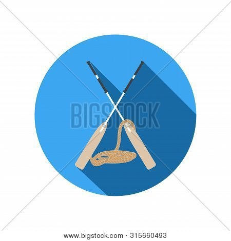 Vector Isolated Flat White Icon Of Crossed Oars And Rope In The Center On The Blue Circle Background