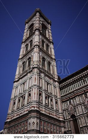 Tower Of Giotto's Campanile Bell Tower Of The Basilica Di Santa Florence, Italy.