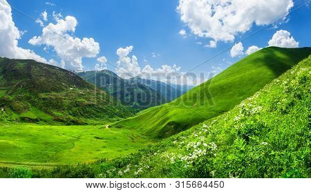 Beautiful Green Mountain Valley. Scenic Grassy Mountains. Summer Day In Mountains. Amazing Bright Mo
