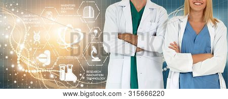Doctor With Medical Healthcare Graphic In Hospital