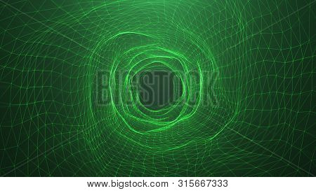Abstract Digital Wormhole, Tunnel Consisting Green Sparkling Particle And Lines. Way Through The Dig