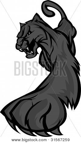 Graphic Mascot Vector Image of a Prowling Black Panther Body poster