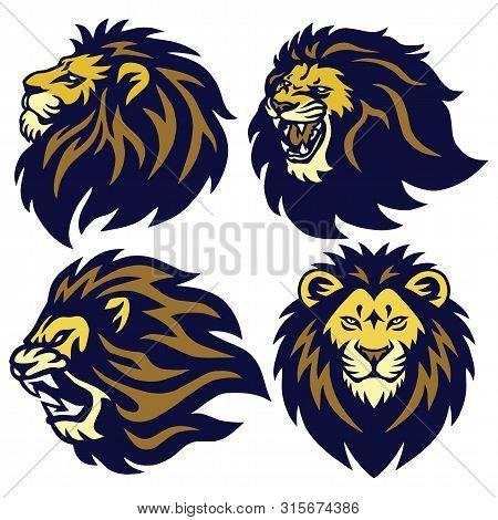 Lion Head Esport Logo Set Premium Collection Vector Mascot poster
