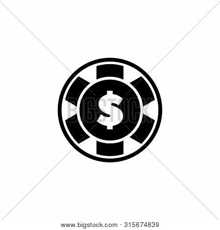 Casino Chip, Poker, Blackjack. Flat Vector Icon Illustration. Simple Black Symbol On White Backgroun