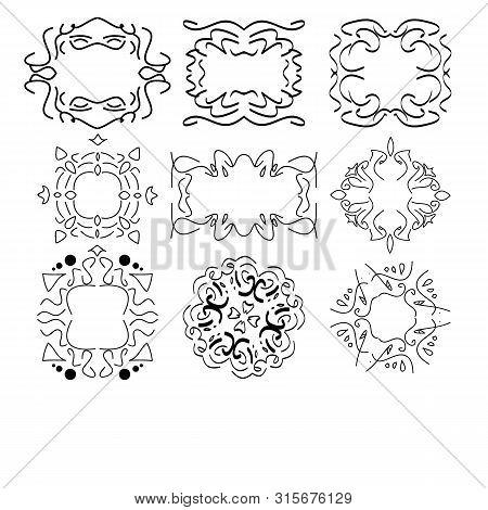 Design elements, vintage royalty frames and border in black color. Vector illustration. Isolated on white background. poster