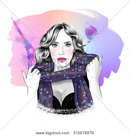 Romantic Fashion Portrait Of Young Lady, Travelling To Paris, With Beautiful Man Pearlescent, Silhou
