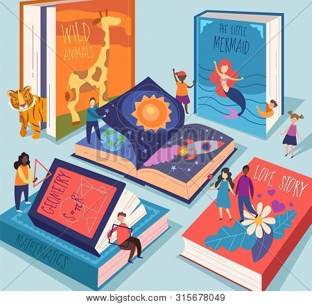 Cute Tiny People Reading Different Giant Books And Textbooks. Concept Of Book World, Readers At Libr