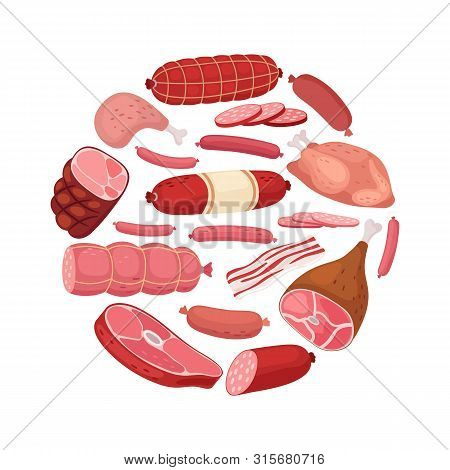 Round Meat Banner. Vector Chicken, Salami, Sausage And Fresh Meat Isolated On White Background. Illu