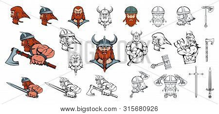 Set Of Scandinavian Vikings In Different Poses. Scandinavian Warriors With A Traditional Weapon. Tea