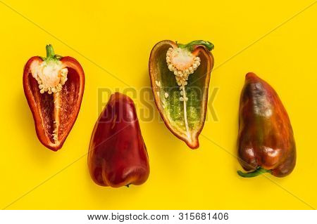Red Peppers Creative Food Background Healthy Food. Vegetarian Food. Nutritious Food. Vegetable Food.