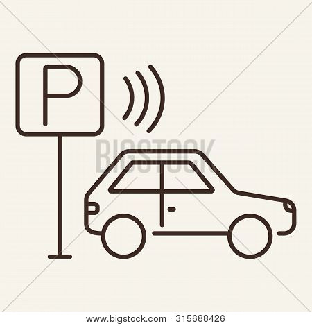 Wi-fi Parking Line Icon. Car, Automobile, Roadsign. Connection Concept. Can Be Used For Topics Like