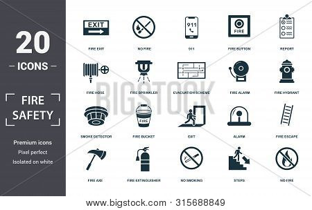 Fire Safety Icon Set. Contain Filled Flat Smoke Detector, Fire Hose, Fire Escape, Alarm, No Fire, Fi