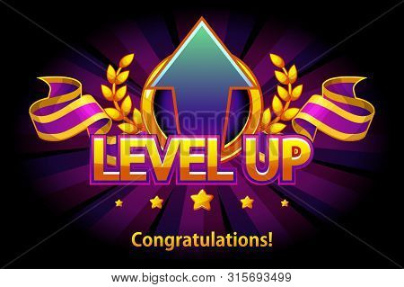 Level Up Icon, Game Screen. Vector Illustration With Arrow And Puple Award Ribbon. Graphical User In