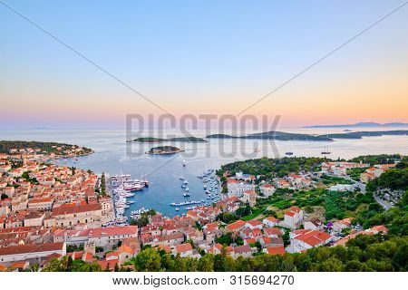Evening View Of Hvar Town, Croatia. Harbor Of The Old Adriatic Island