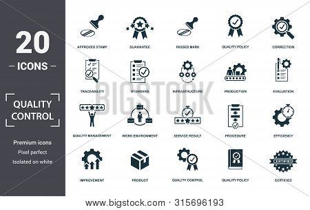 Quality Control Icon Set. Contain Filled Flat Correction, Efficiency, Infrastructure, Quality Policy