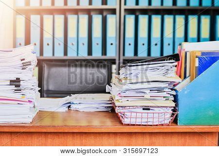 Heap Of Paperwork Stack Documents On Office Desk , Business Documents Billing And Examination To Rep