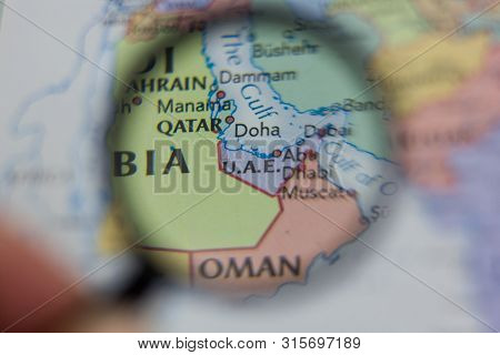 United Arab Emirates Or U Or Atlas.a Or Atlas.e Or Atlas. On The Map Of The World Or Atlas.