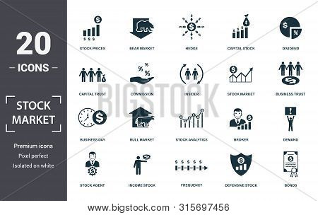 Stock Market Icon Set. Contain Filled Flat Bear Market, Stock Market, Stock Prices, Stock Agent, Bus