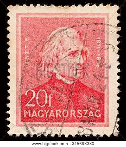 Israel - February 12, 2018: A Stamp Printed In Hungary Shows Ferenc (franz) Liszt (1811-1886) Compos