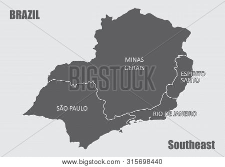Gray Map Of The Brazil Southeast Region Isolated On White Background