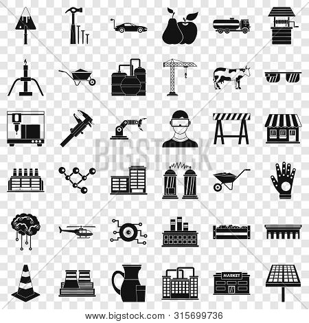 Market Icons Set. Simple Style Of 36 Market Vector Icons For Web For Any Design