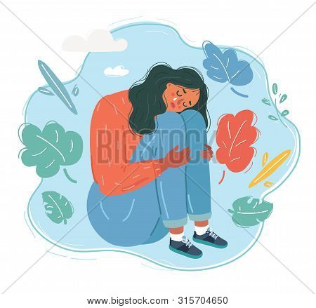 Cartoon Vector Illustration Of Woman In Sad And Depressed Woman Deep In Thought.