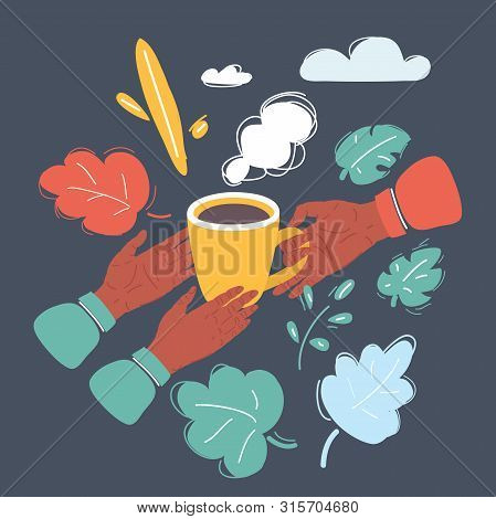 Cartoon Vector Illustration Of Hands With Coffee Mug. One Person Give Another. Object On Dark Backgr