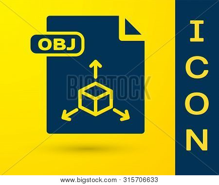 Blue Obj File Document. Download Obj Button Icon Isolated On Yellow Background. Obj File Symbol. Vec