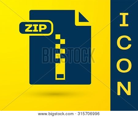 Blue Zip File Document. Download Zip Button Icon Isolated On Yellow Background. Zip File Symbol. Vec