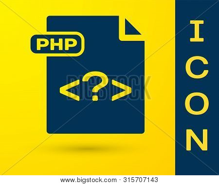 Blue Php File Document. Download Php Button Icon Isolated On Yellow Background. Php File Symbol. Vec