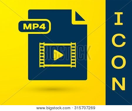 Blue Mp4 File Document. Download Mp4 Button Icon Isolated On Yellow Background. Mp4 File Symbol. Vec
