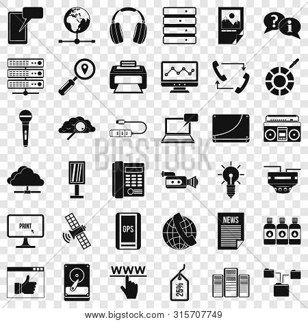 News Icons Set. Simple Style Of 36 News Vector Icons For Web For Any Design
