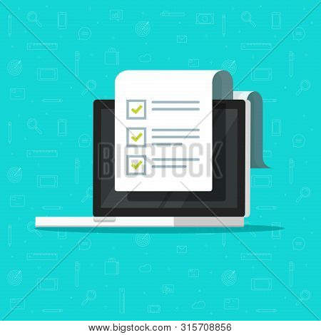 Check List Document And Laptop Vector Illustration, Flat Cartoon Computer With Paper Check List And