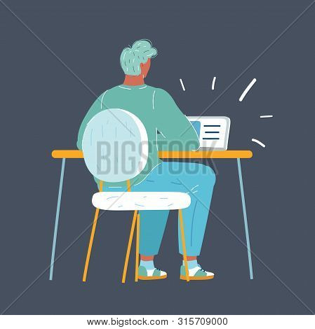 Vector Cartoon Illustration Of Man Working Late Night. Workload, Overtime Work. Back Rear View Of Hu