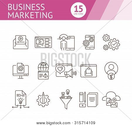 Business Marketing Icons. Set Of Line Icons. Social Media, Video Message, Content Management. Promot