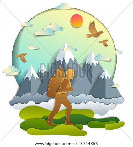 Young Active Man Hiking To Nature With Mountain Peaks In Background, Vector Illustration Of Beautifu