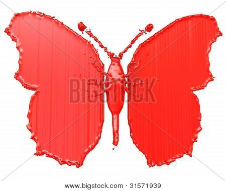 Red paint in the form of a butterfly. Isolated on white background poster