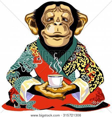Cartoon Chimpanzee Great Ape Or Chimp Monkey Wearing Red Kimono Robe, Sitting In Lotus Yoga Pose And