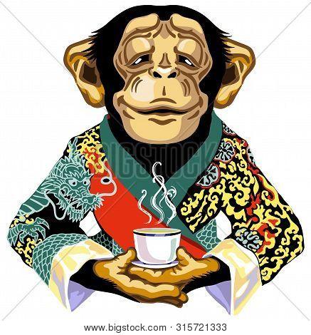 Cartoon Chimp Great Ape Or Chimpanzee Monkey Wearing Red Kimono Robe And  Holding Mug Of Tea. Calm C