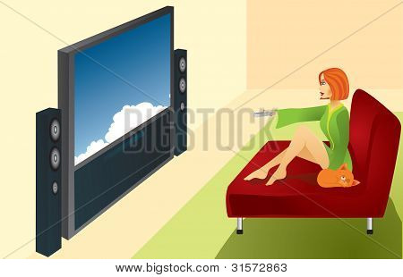 A Woman Watches Tv
