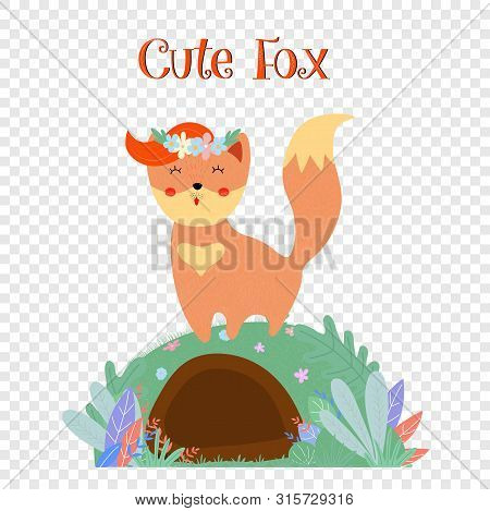 Cute Fox In Flower Wreath Stand On Foxy Burrow Isolated On Transparent Background, Sweet Animal Prin