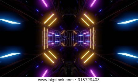 Futuristic Scifi Tunnel Corridor With Texture Muster Background Wallpaper 3d Illustration