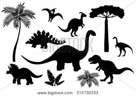 Set Of Black Silhouettes Of Dinosaurs On A White Background, Stegosaurus, Triceratops, Tyrannosaurus