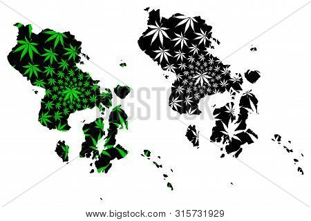 Southeast Sulawesi (subdivisions Of Indonesia, Provinces Of Indonesia) Map Is Designed Cannabis Leaf