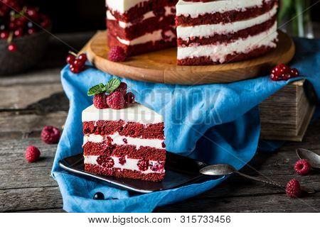 Red Velvet Cake On Wood Board. Slice Of Cake. Raspberry Cake. Devils Cake. Wedding Dessert. Birthday