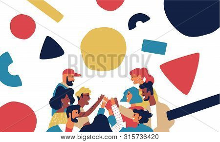 Happy Friend Group Doing High Five Together. Big People Team Of Diverse Teens Or Young Adults With M
