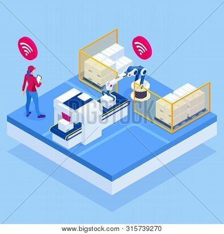 Isometric Iot Smart Industry 4.0 With Development Production Packaging And Delivery Steps. Automatio