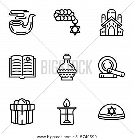 Judaism Icon Set. Outline Set Of 9 Judaism Vector Icons For Web Design Isolated On White Background
